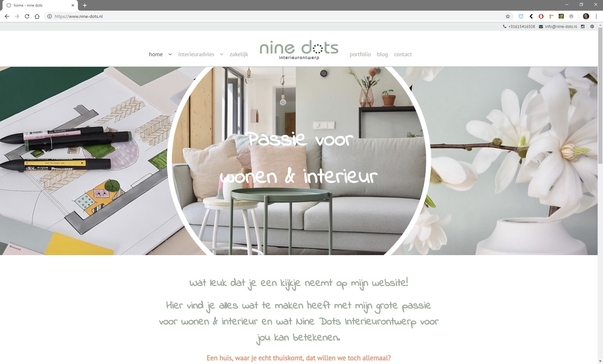 Webdesign van website Nine-dots, interieurontwerp in Oss